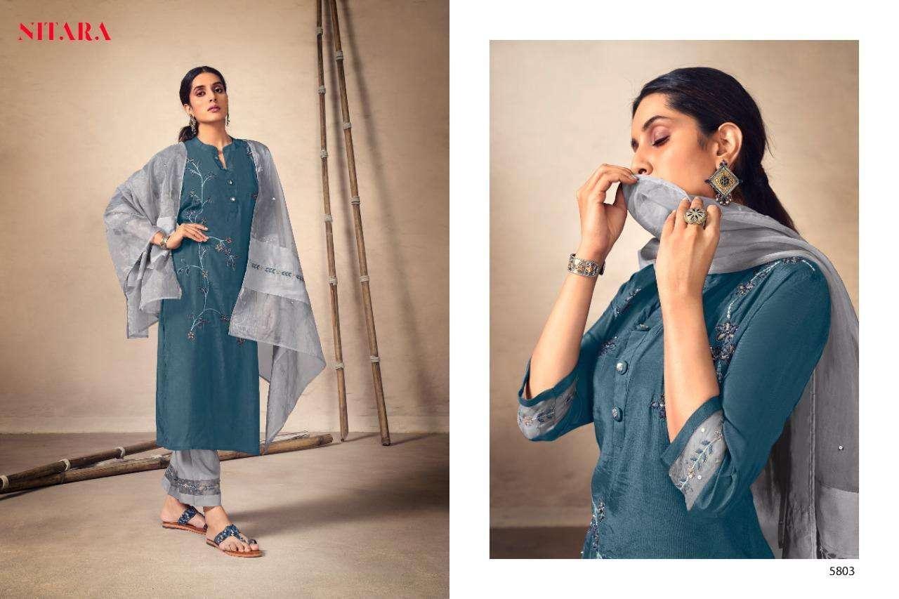 Nitara Kyra Pure viscose With Embroidery Work Kurti With Pant Dupatta Collection