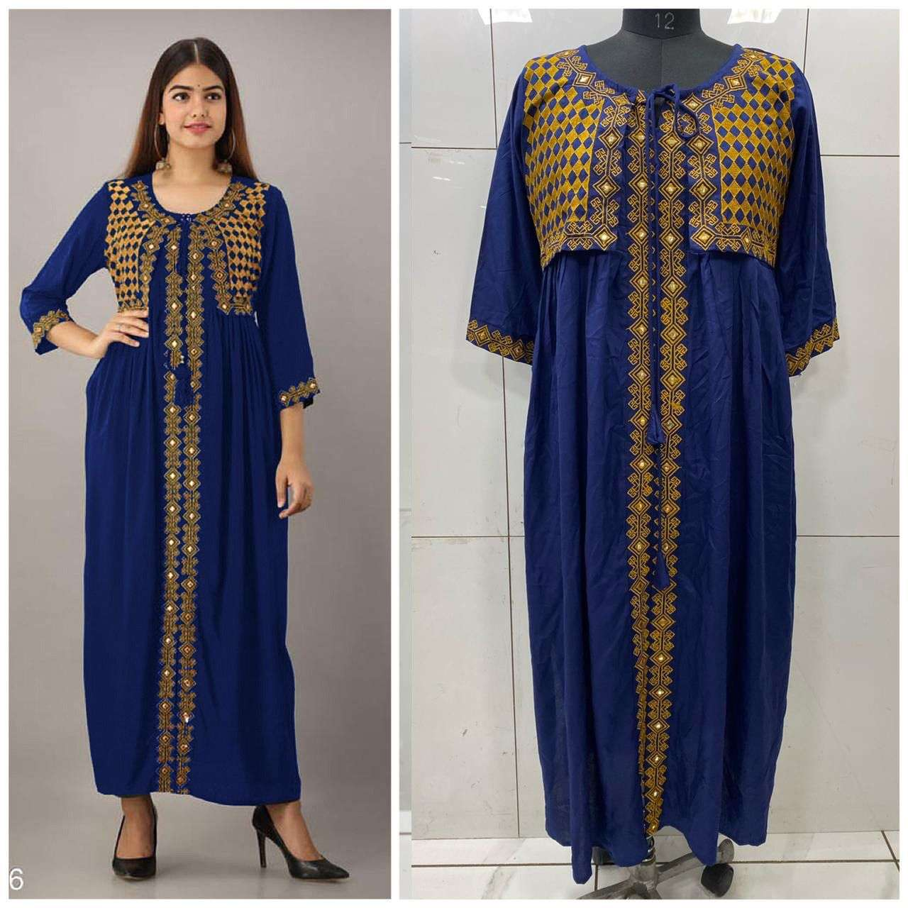 Rayon Cotton With Embroidery Mirror Wotk Kurti With Koti Collection