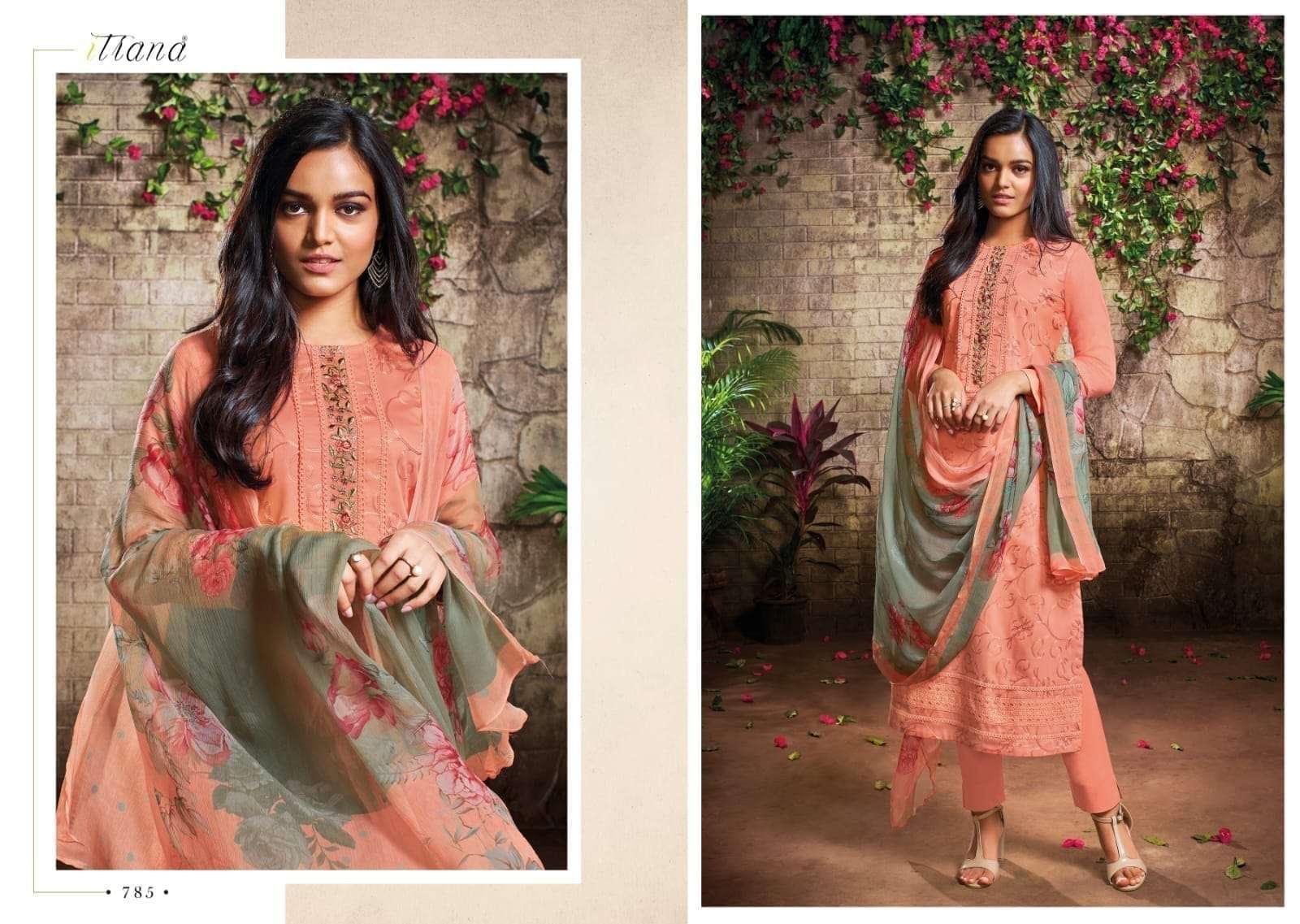 Sahiba Itrana Sabhya Cotton Satin With Embroidery Work Dress Material Collection