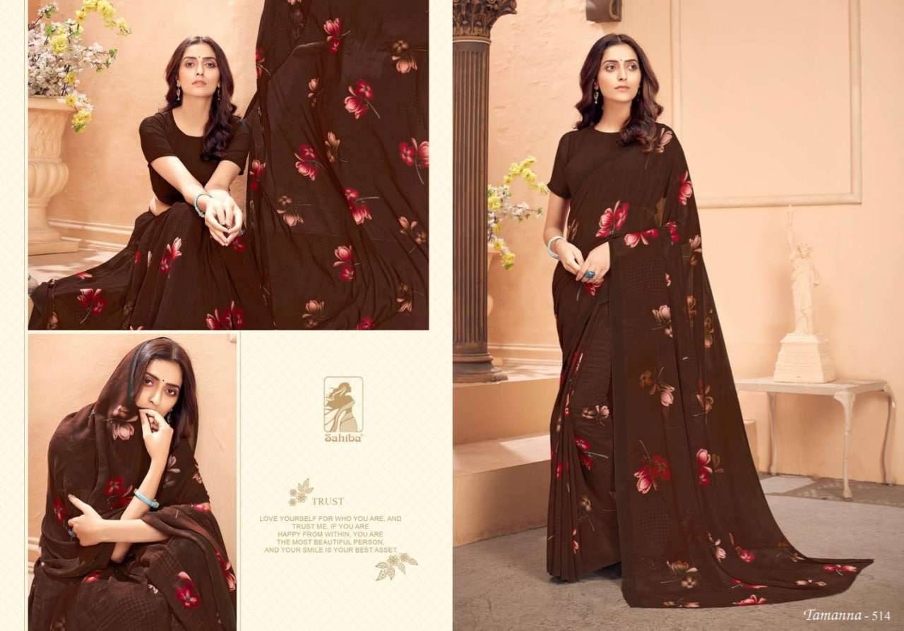 Sahiba Tamanna Vol 5 Georgette With Border Sarees Collection
