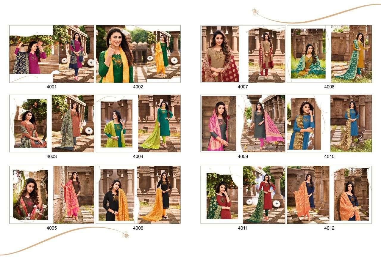 Shagun Lifestyle Vaccine Vol 4 Slub Silk With Work Dress Material Collection