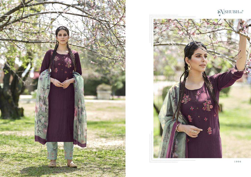 Shubu NX Kelly Chinon Weaving Butti Hand Embroidery readymade Salwar Kameez Collection