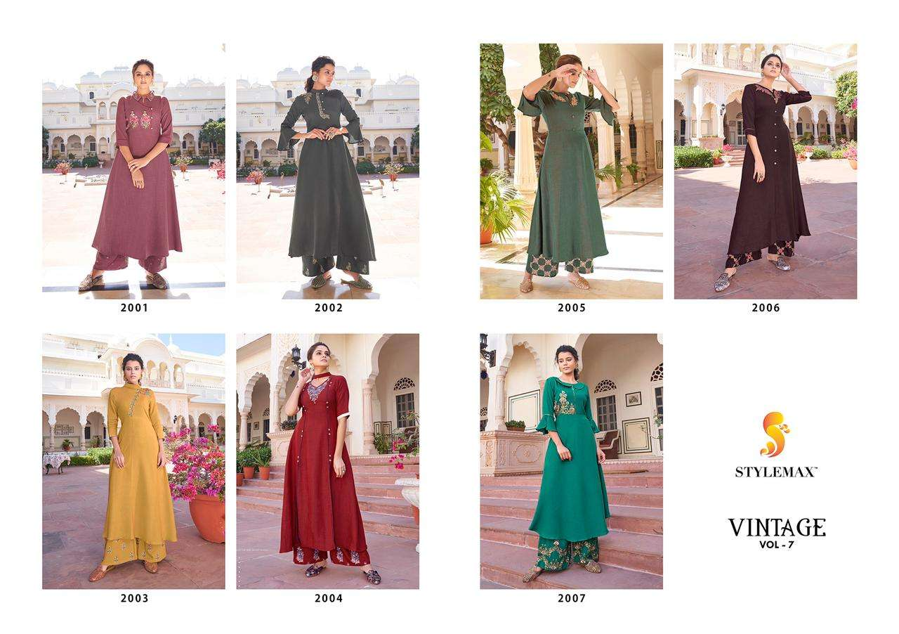 Stylemax Vintage Vol 7 heavy Rayon Two Tone With Embroidery Work Kurtis Palazzo Collection