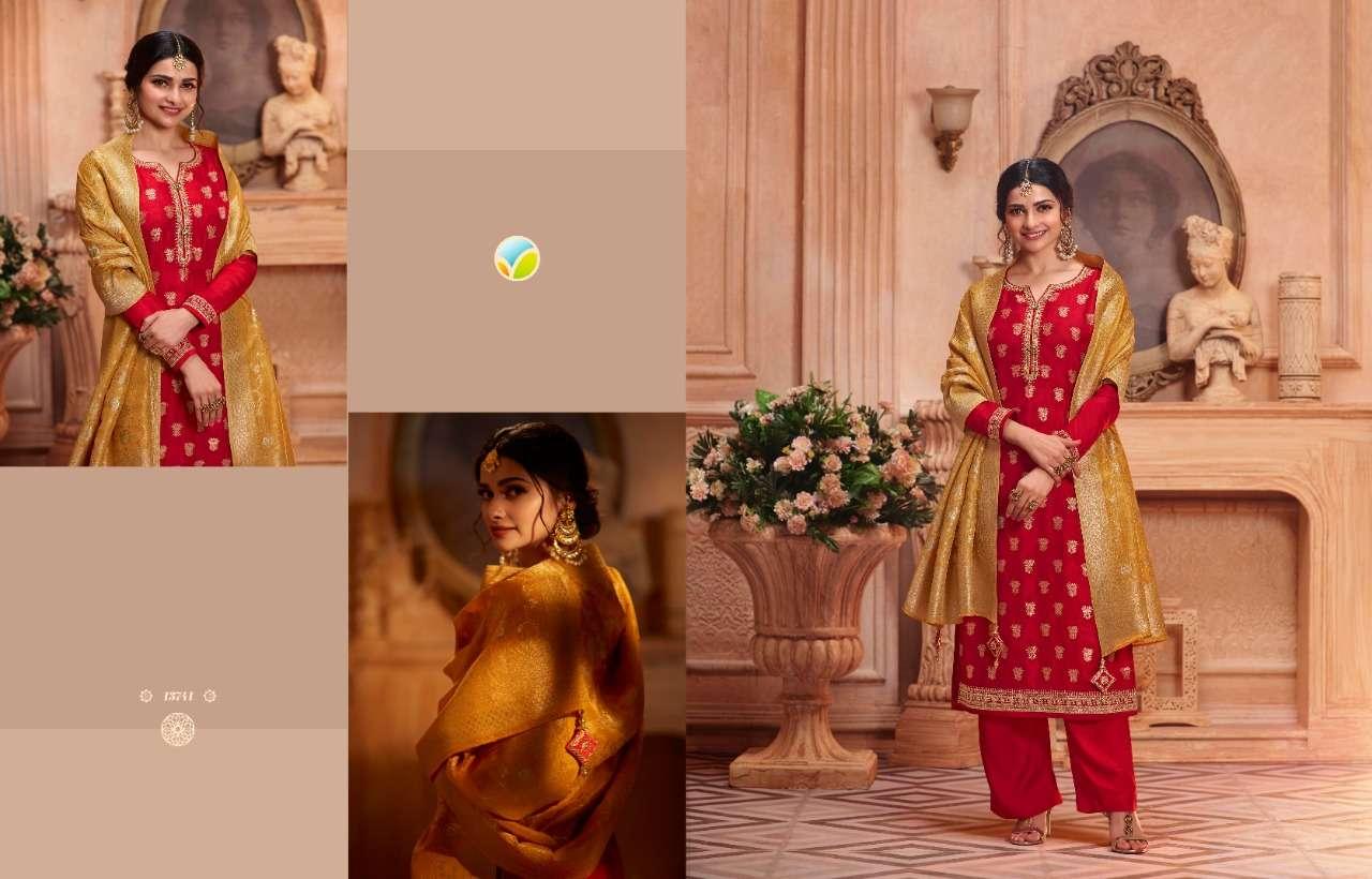 Vinay fashion Kaseesh Zardosi Hit list Dola Jacquard Dress Material collection