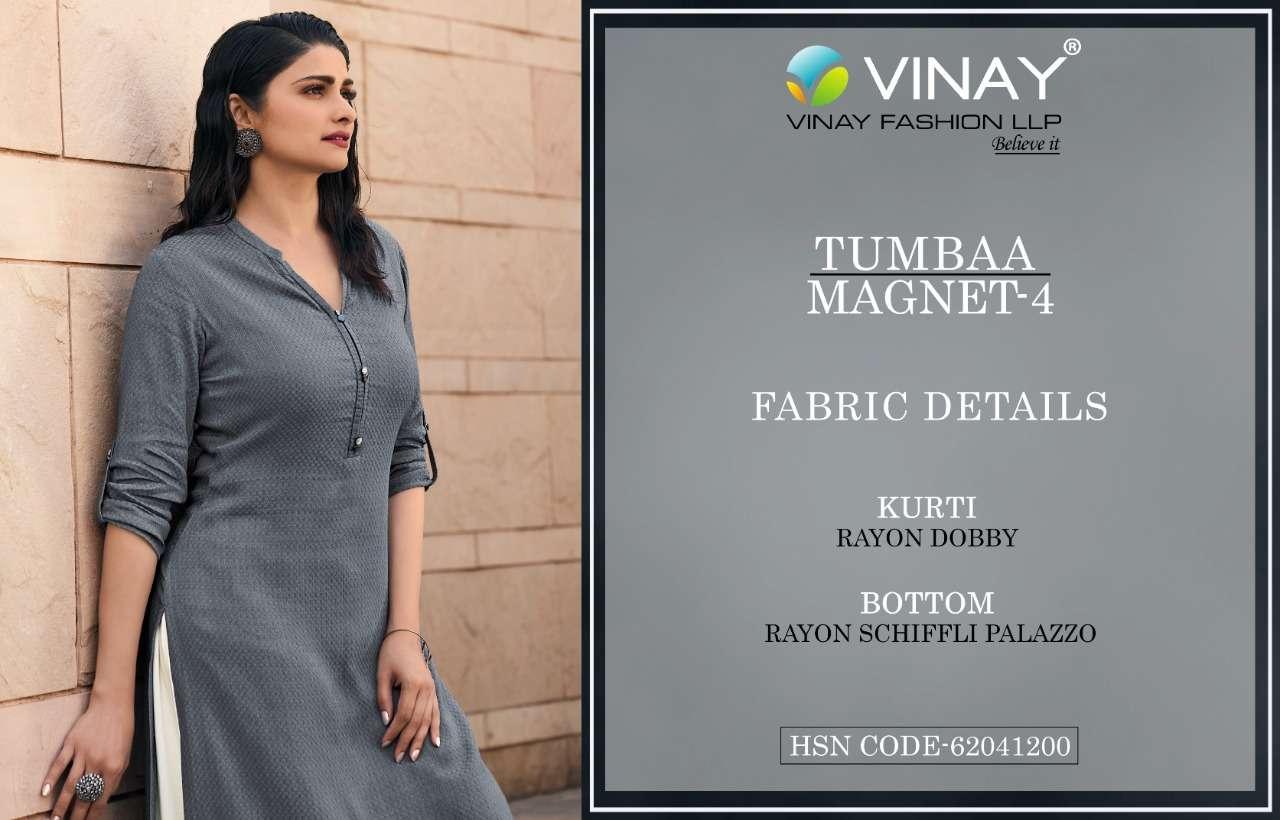Vinay Fashion Tumbaa Magnet Vol 4 Rayon Dobby Kurti With Bottom Collection