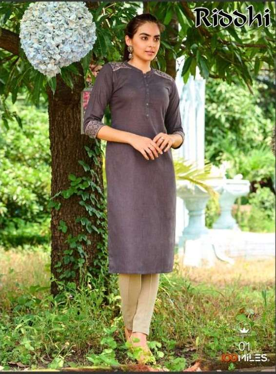 100 Miles Riddhi Linen Cotton With Embroidery Work Kurtis Collection