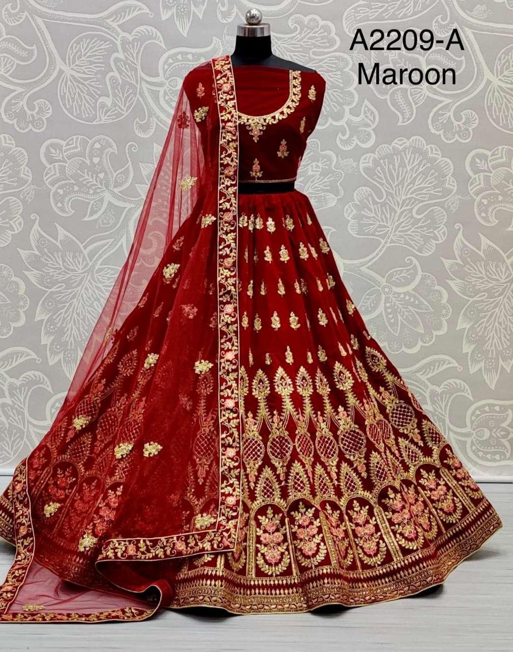 2209 Velvet bridal Lehenga choli Collection