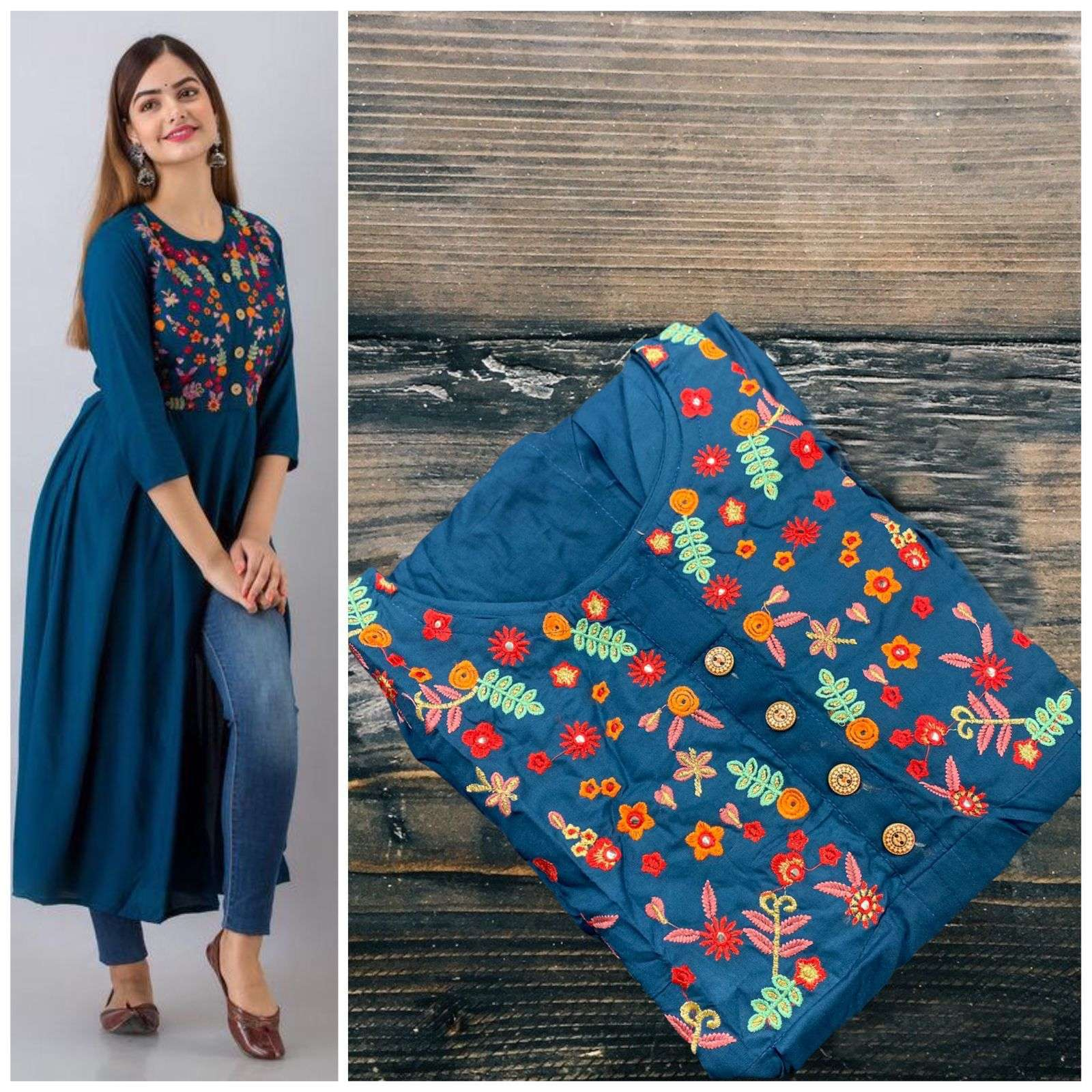 4 BUTTIN RAYON COTTON WITH EMBROIDERY WORK KURTI COLLECTION