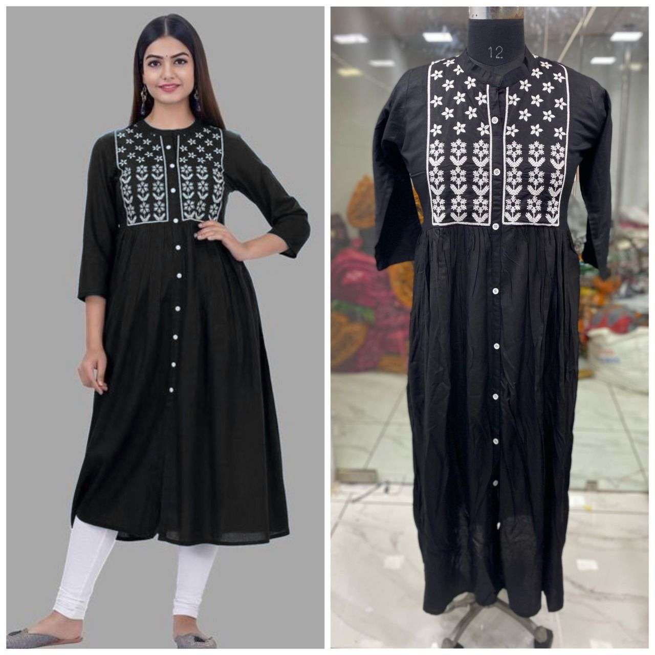 8 BUTTON KURTI RAYON COTTON WITH EMBROIDERY WORK KURTI COLLECTION