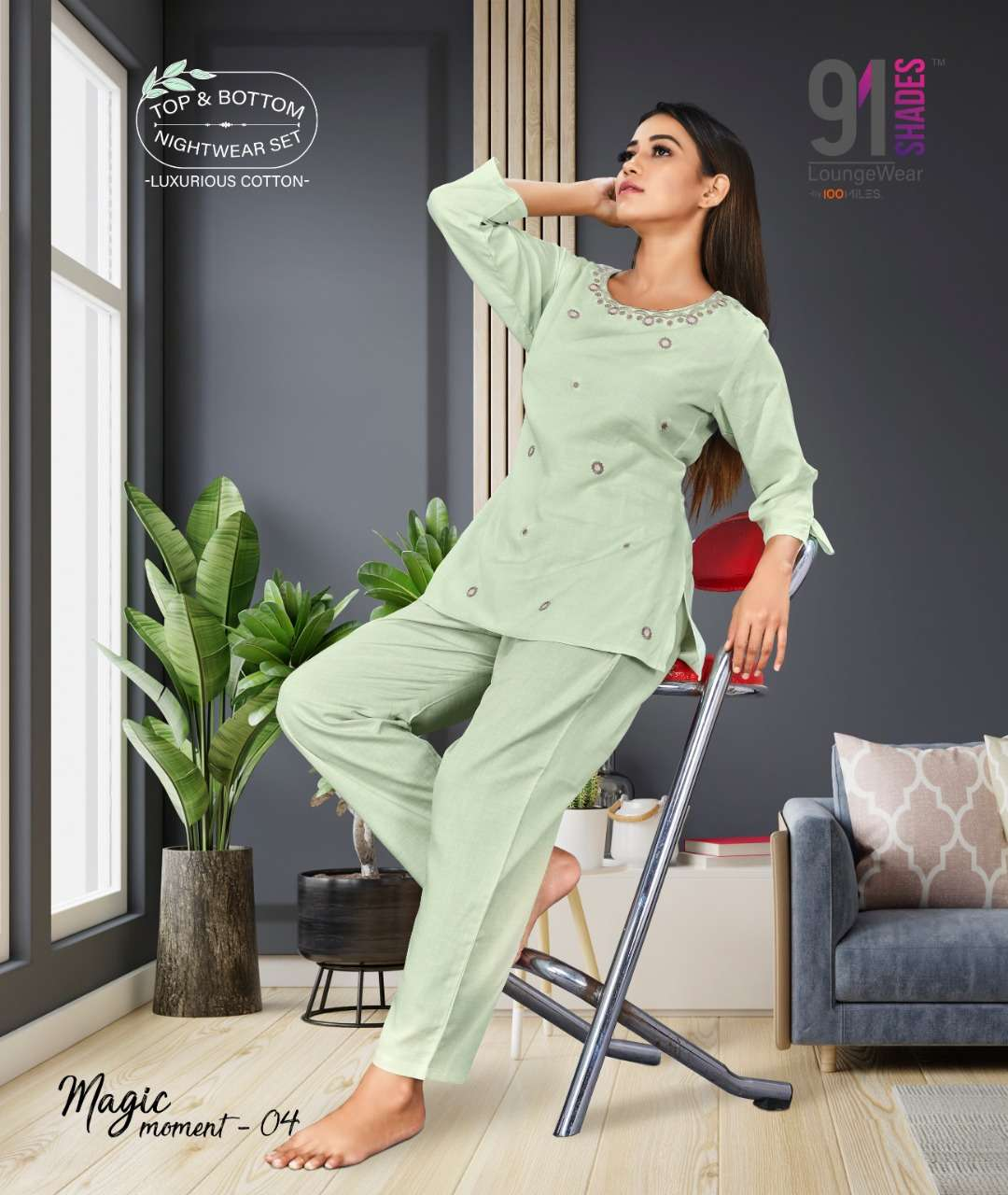 91Shades Magic Moments Cotton Linen Embroidery Work night Wear collection
