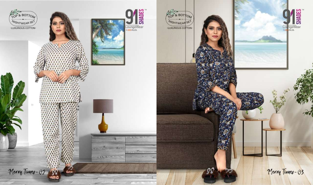 91Shades Merry Times pure cotton Printed night Wear collection