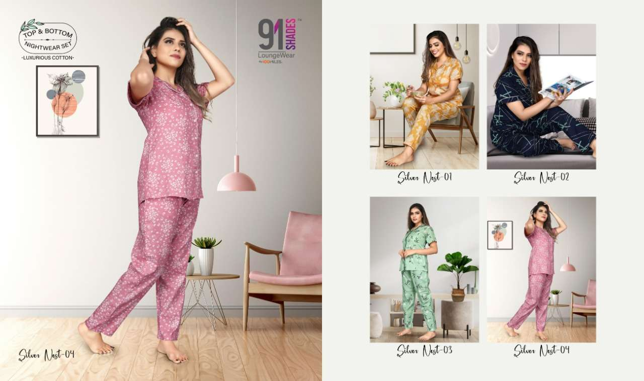 91Shades Silver Nest Pure cotton Printed night Wear collection