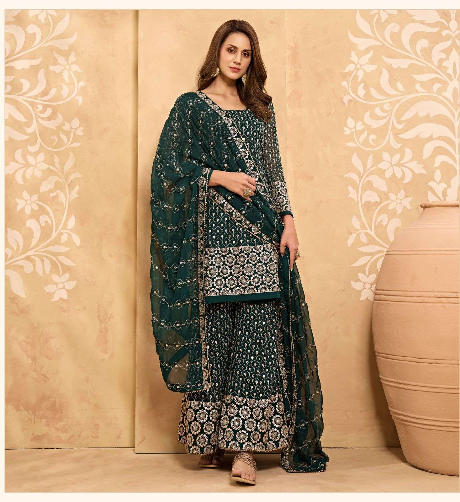 Alizeh Zaida Vol 5 Georgette With Fancy Work Readymade Sharara Collection 01