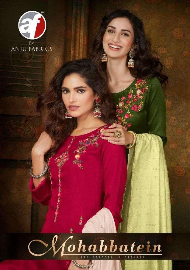 Anju fabrics Mohabbatein Silk with Embroidery Hand Work Kurti With Bottom Dupatta collection