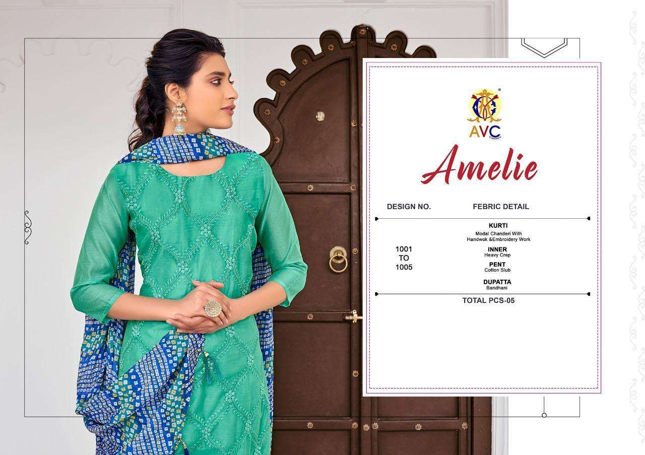 AVC Amelie Modal Chanderi With Embroidery Hand Work Dress Material collection