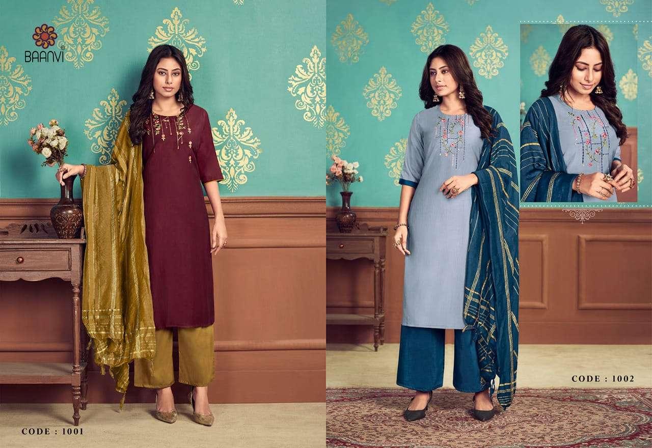 Baanvi Aaradhya Vol 1 Chinon Silk With Wotk Kurti With Palazzo And Dupatta collection