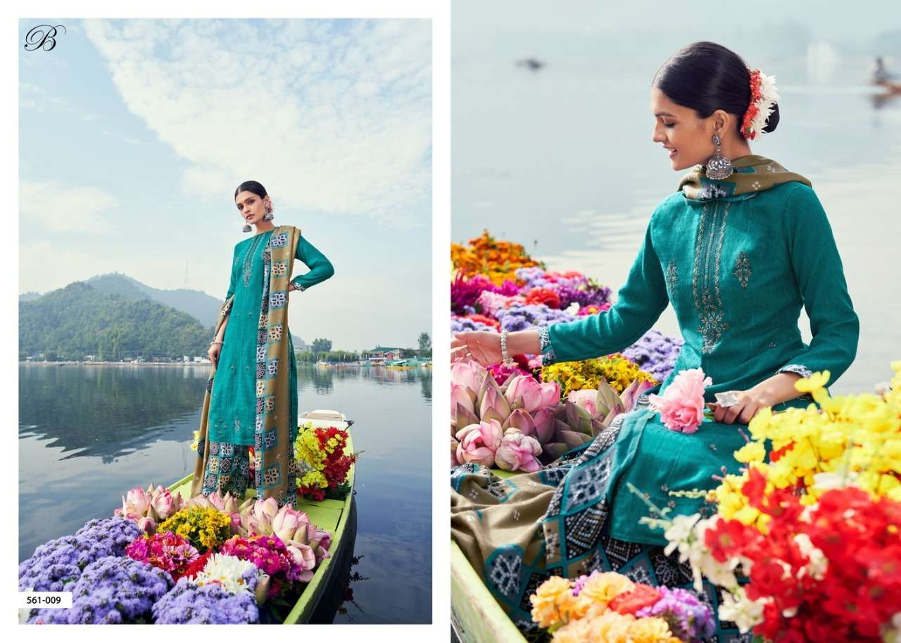 Belliza Designer Studio Nizam E Patiala Pashmina Print With Work Winter collection