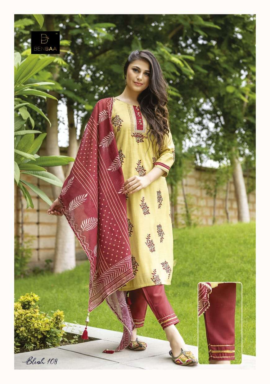 Benbaa Blush Cotton jam Printed Kurti With Pant Dupatta collection