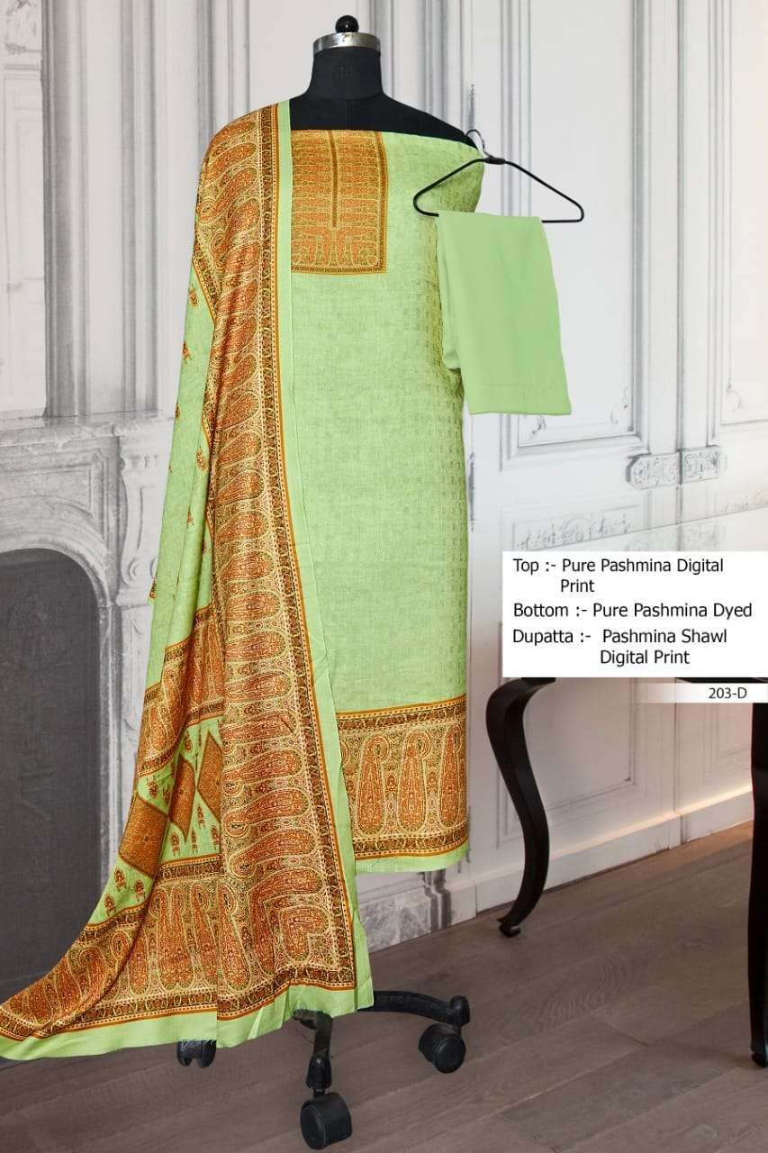 Bipson Winter Collection 203 series Woolen Pashmina digital print Dress Material Collection