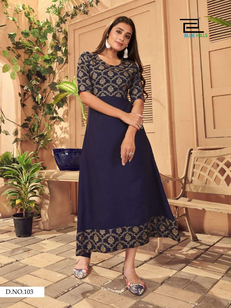 Blue Hills Ice Rayon print Long Gown Style Kurti Collection