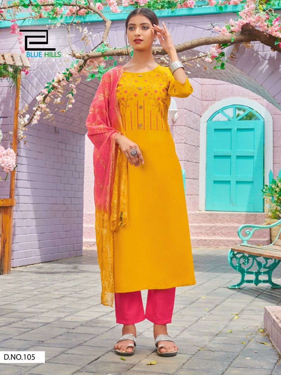Blue Hills New Generation Rayon with embroidery work Kurti With Bottom Dupatta Collection