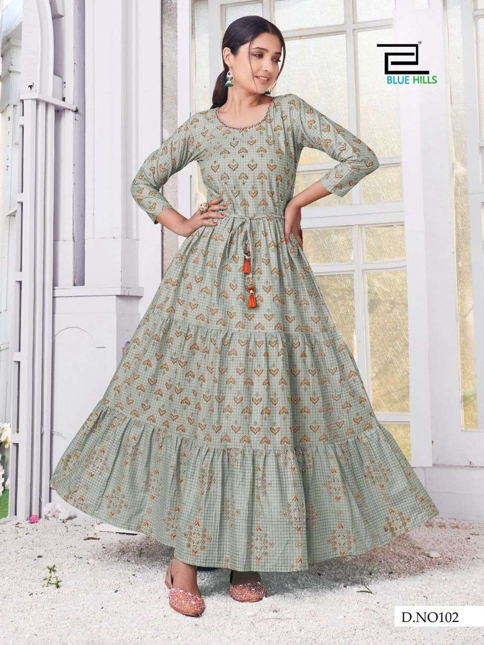 Blue Hills Trend 4 You Cotton Cambric print Gown Style Kurtis collection
