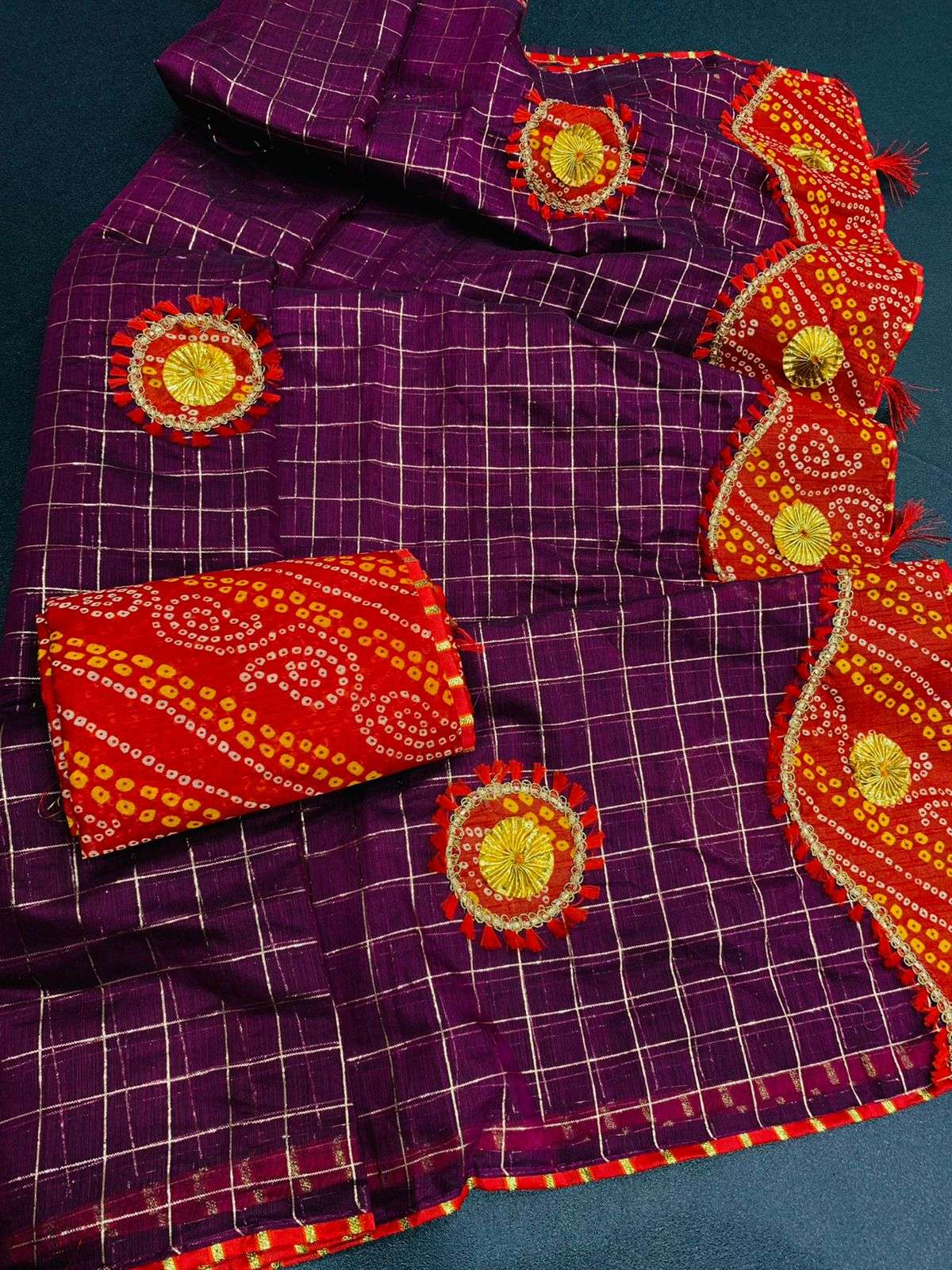 COTTON WITH ZARI CHEX  WITH BANDHANI BORDER TRADITIONAL LOOK SAREE COLLECTION 05