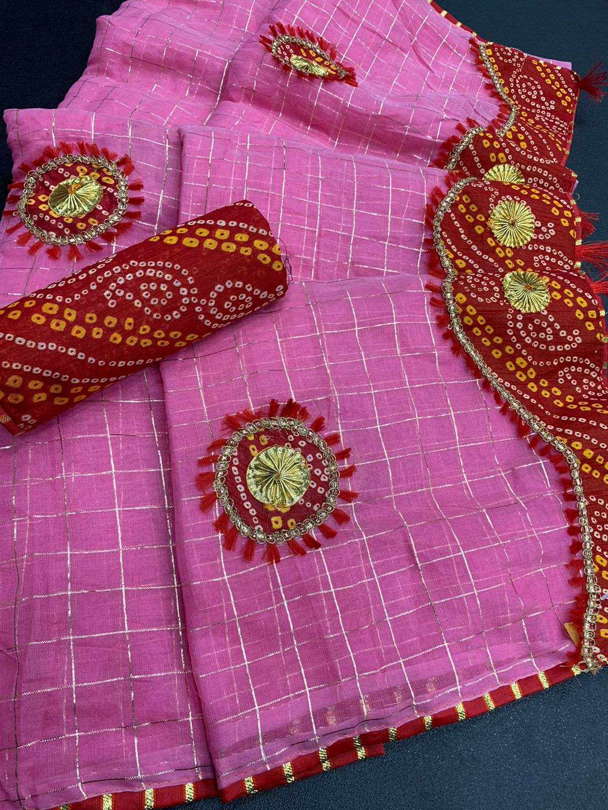 COTTON WITH ZARI CHEX  WITH BANDHANI BORDER TRADITIONAL LOOK SAREE COLLECTION 07