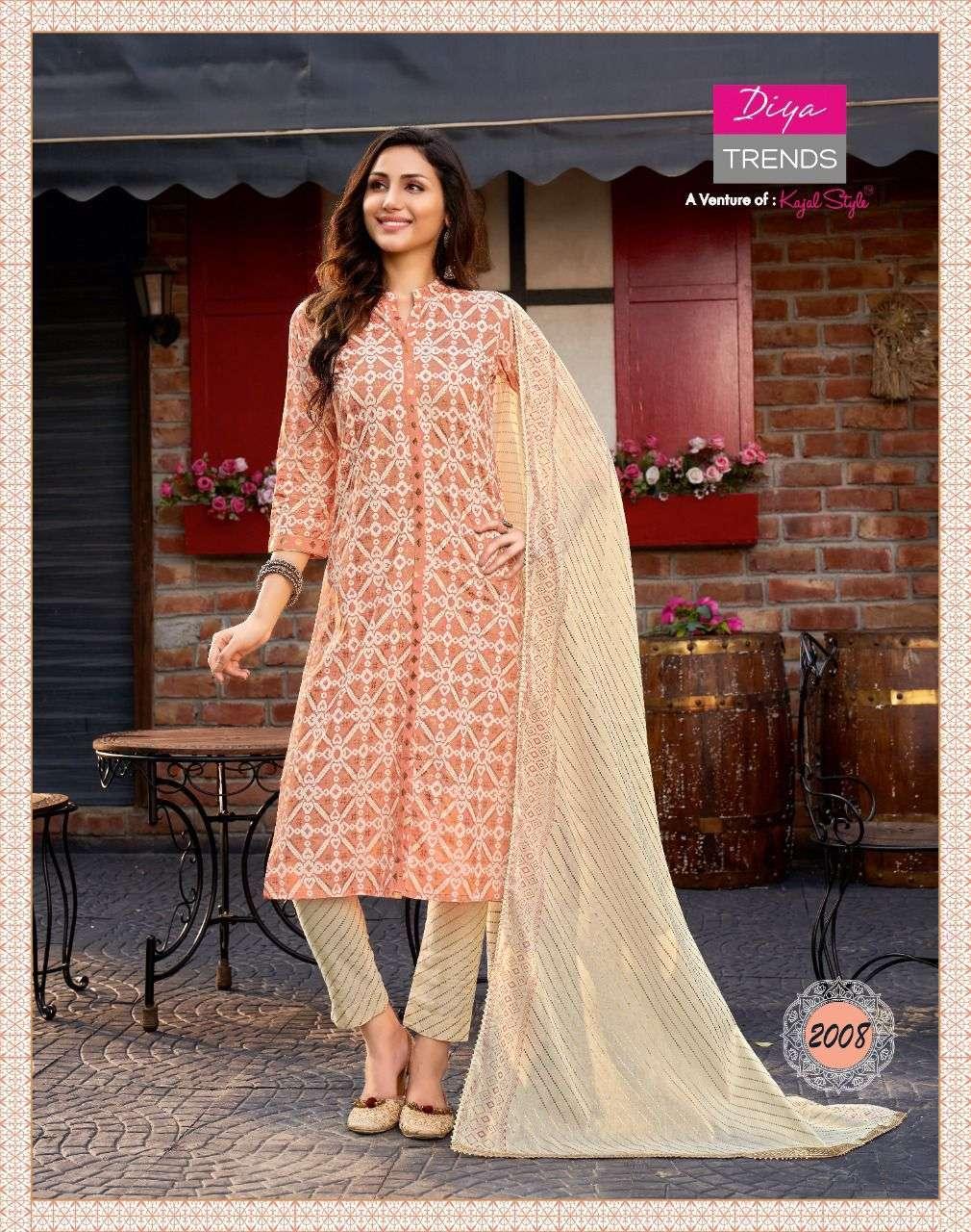 Diya Trendz Odhani Vol 2 rayon with embroidery work Kurti With pant Dupatta Collection