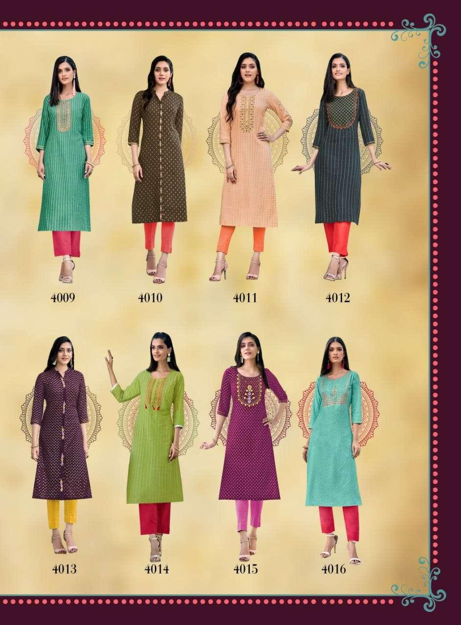 Diya Trendz Victoria Vol 4 Rayon Print With Embroidery Work Kurtis Collection