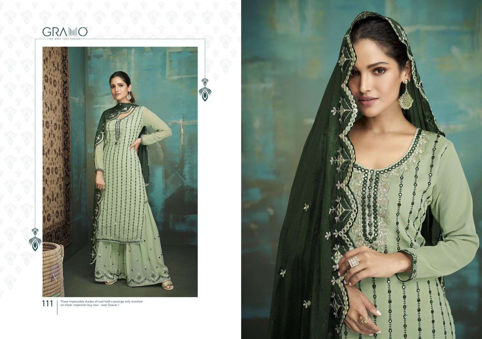 Gramo Bride Vol 1 Faux Georgette With Embroidery Work Salwar Suits Collection 01