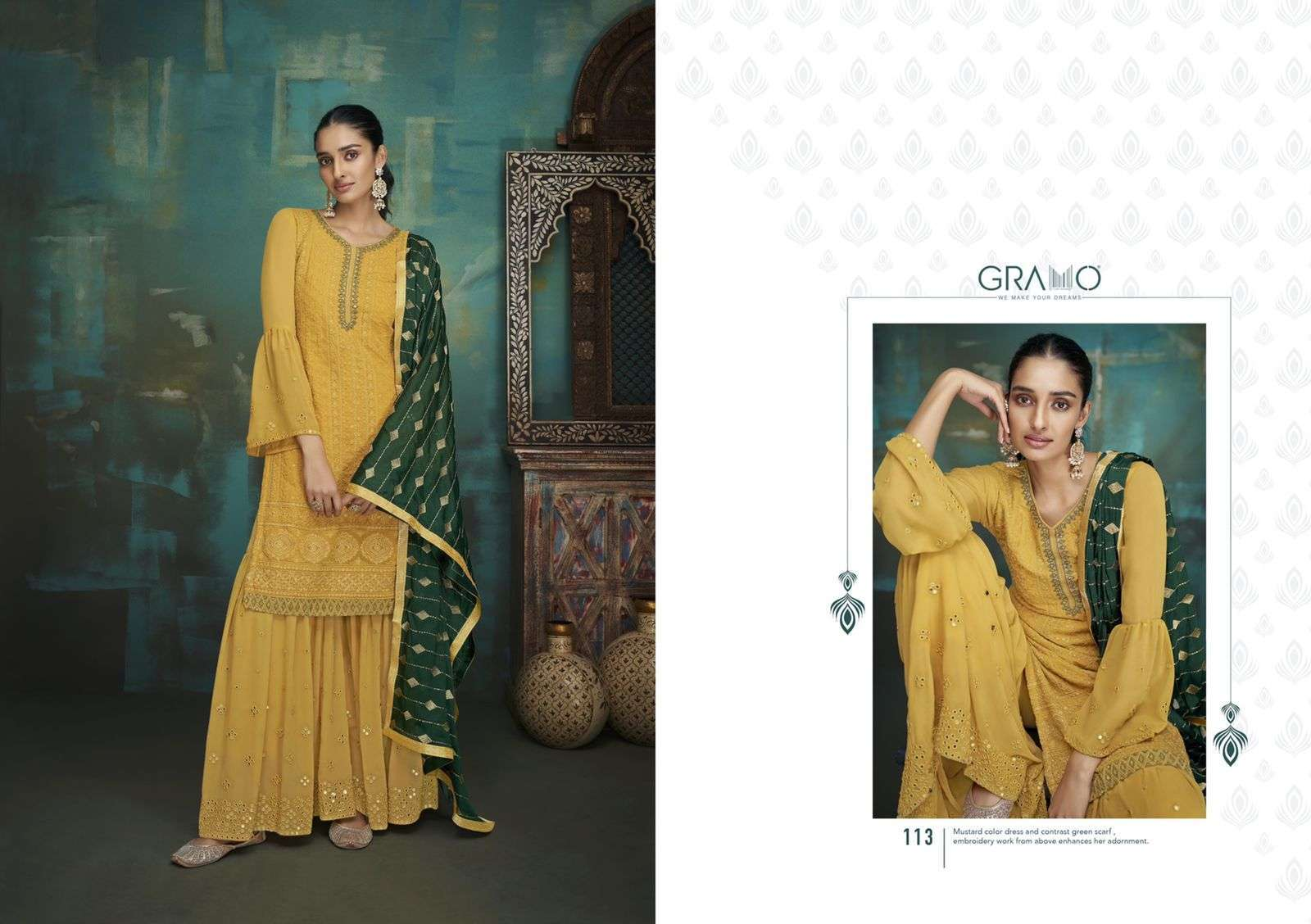 Gramo Bride Vol 1 Faux Georgette With Embroidery Work Salwar Suits Collection 03