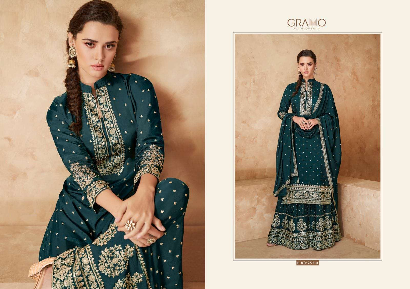 Gramo Colour Special Vol 1 faux georgette With Embroidery work Dress Material collection