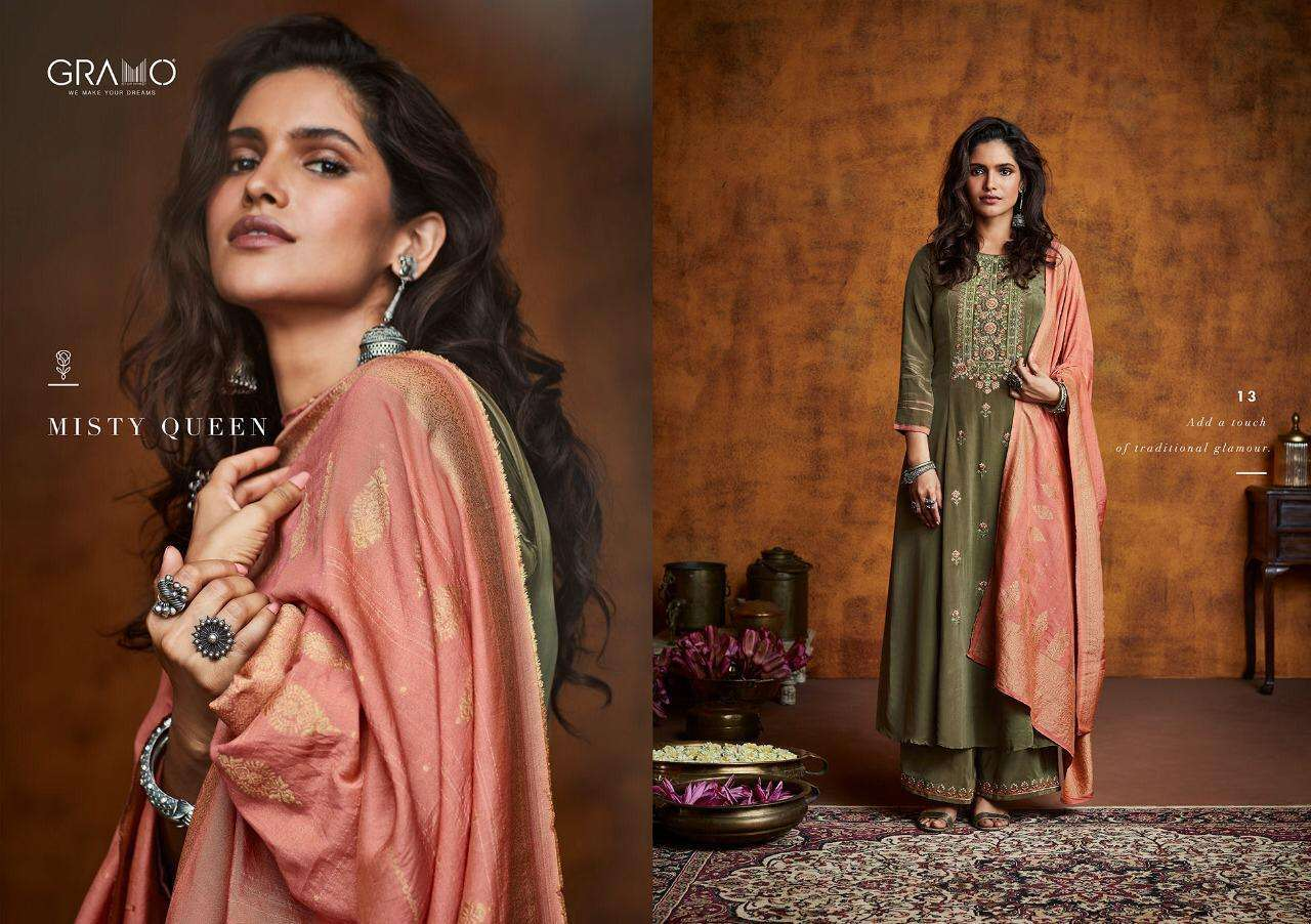 Gramo Mayra Vol 1 Fiona Silk With Work Readymade Suits Collection 01