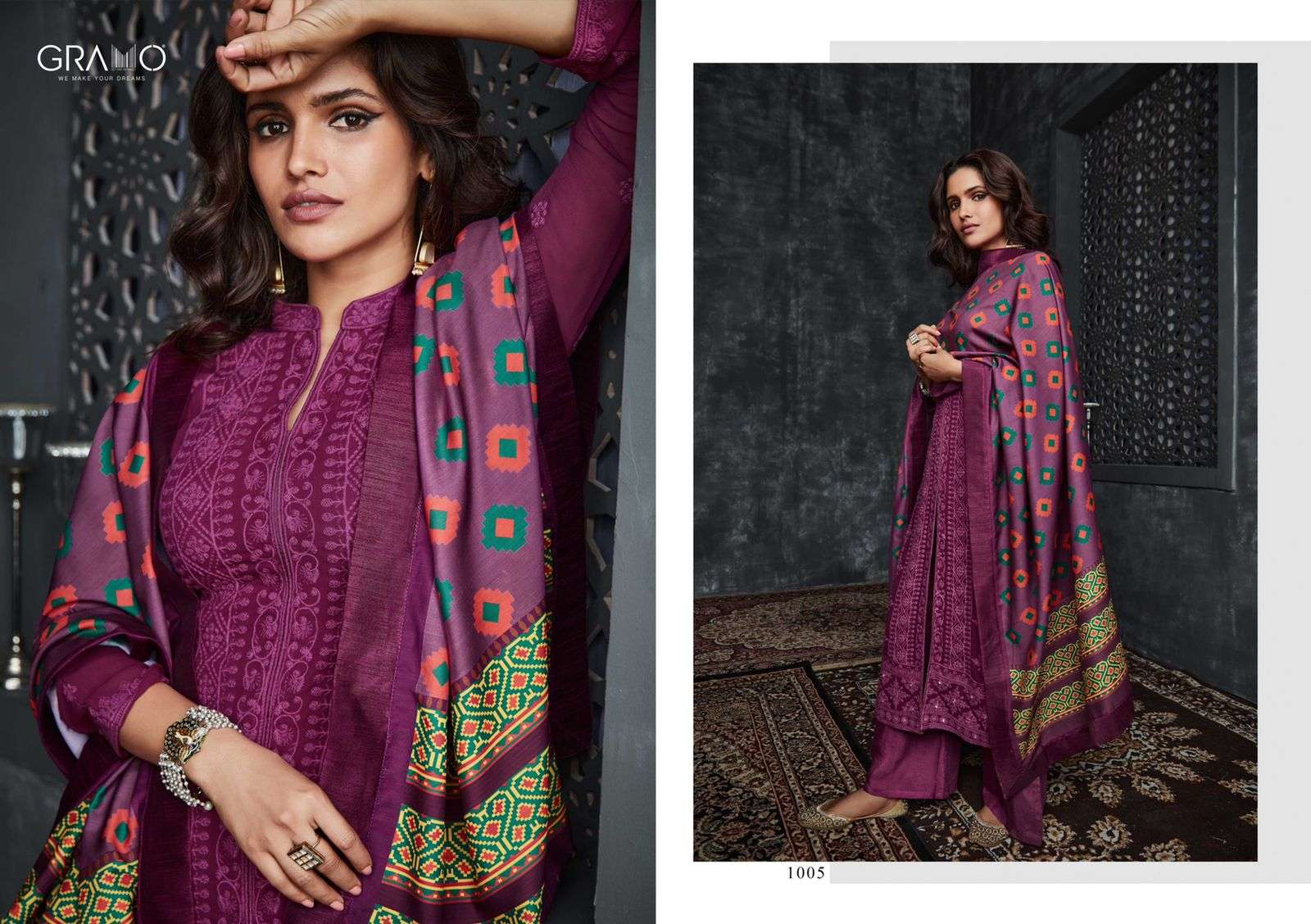 Gramo Neysa Vol 1 Faux Georgette With lakhnavi Work Readymade Suits collection