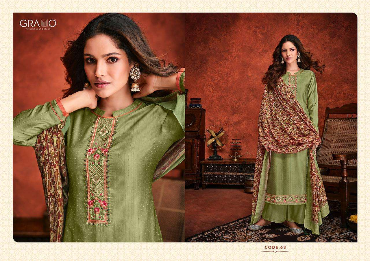 Gramo Safar Vol 2 Pure Viscose With Embroidery Work Readymade Suits Collection 03