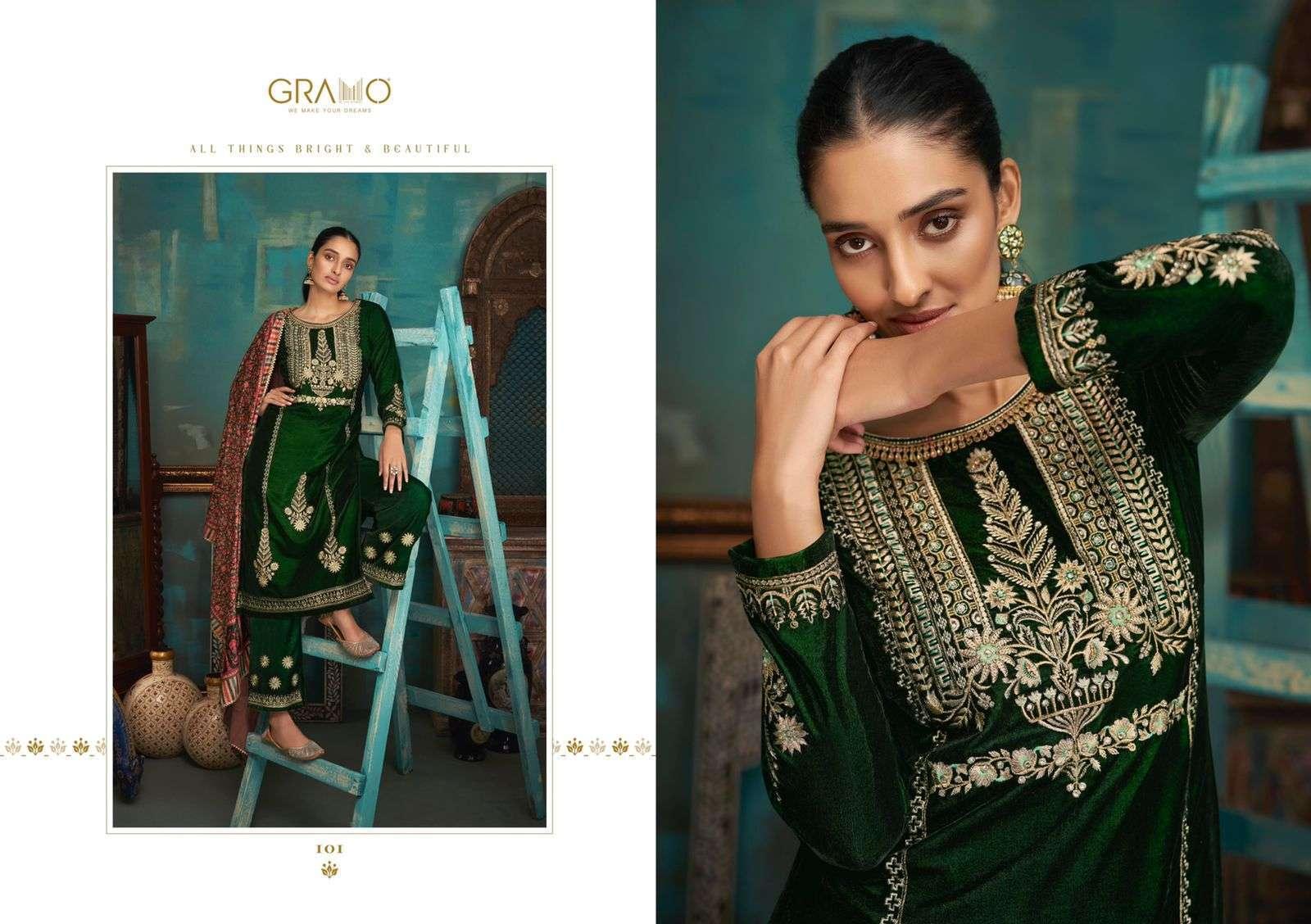 Gramo Velvet Vol 2 Pure Velvet With Work Winter Salwar Kameez Collection