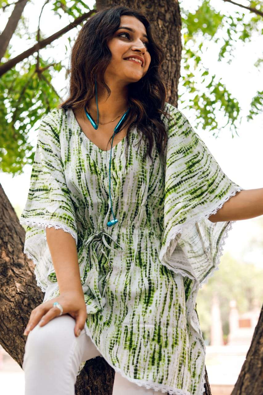Kaftans poncho Rayon fabrics with laces and tie strings