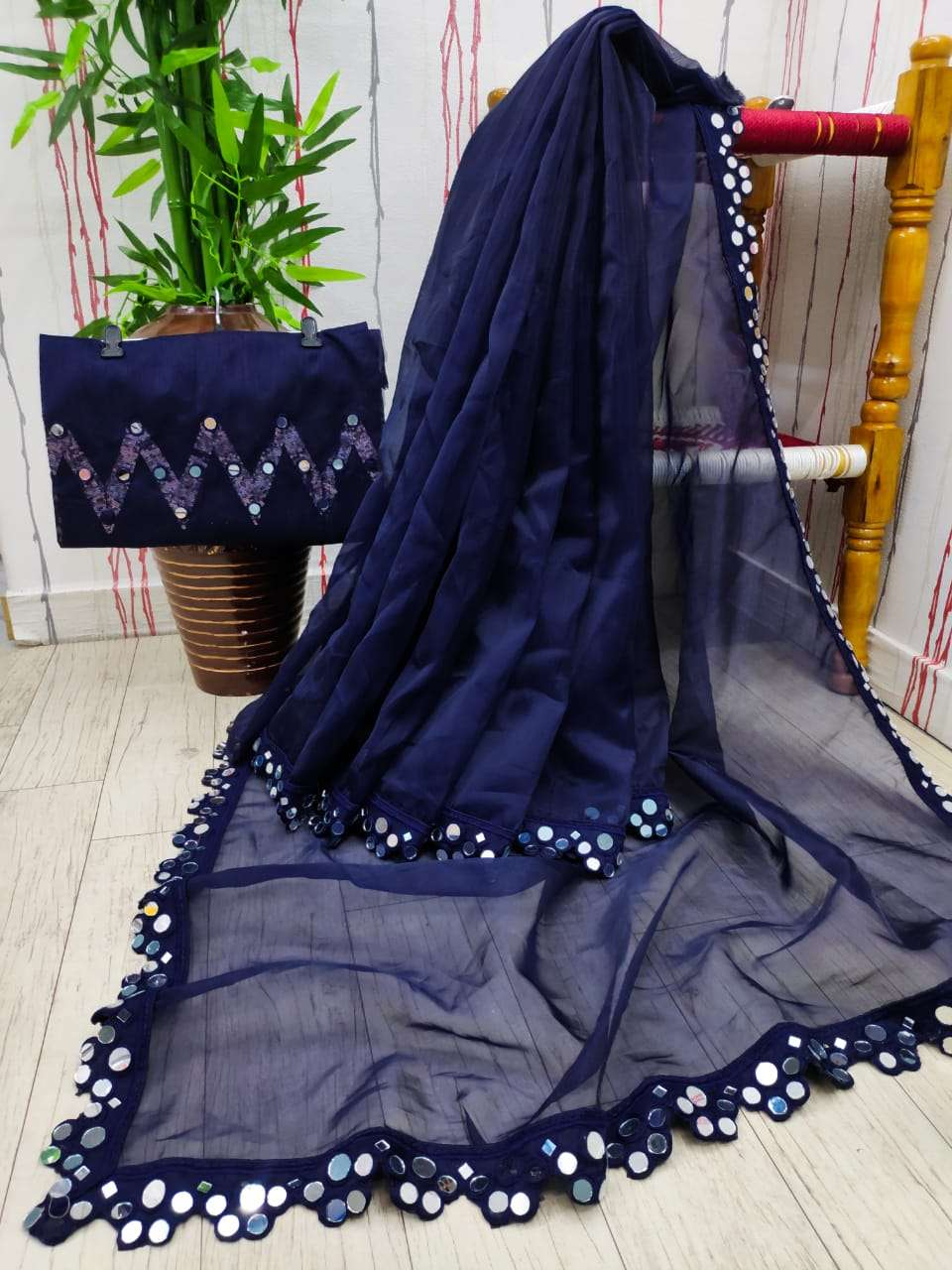 KANKAVATI ORGANZA WITH MULTI EMBROIDERY WORK BLUE SAREE COLLECTION
