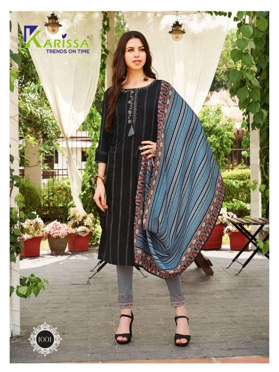 Karissa Bombay Beauty Viscose rayon With Work Kurti With Pant Dupatta Collection