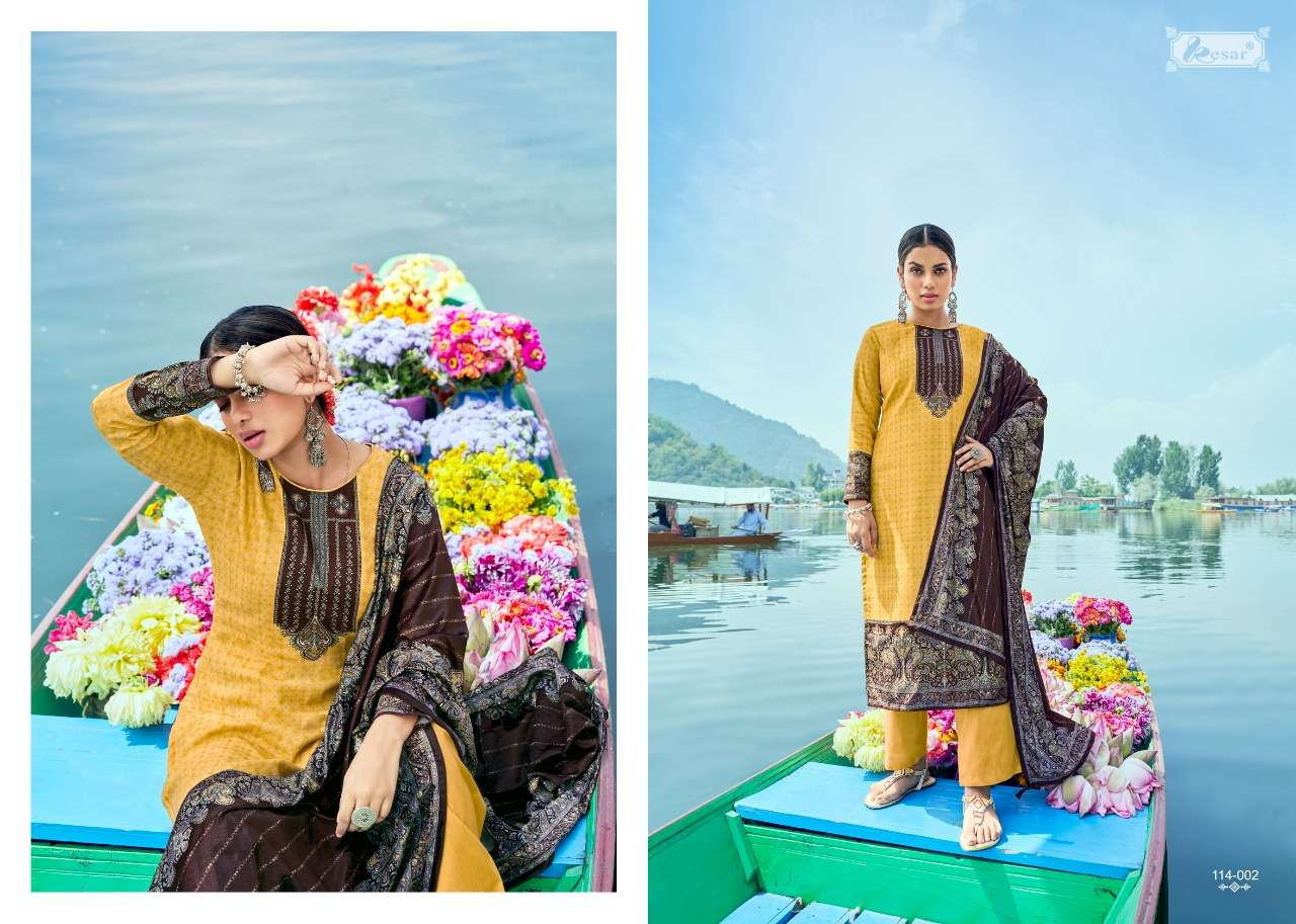 KESAR SAAJ PASHMINA KASMIRI DRESS MATERIALS AT WHOLESALE RATE