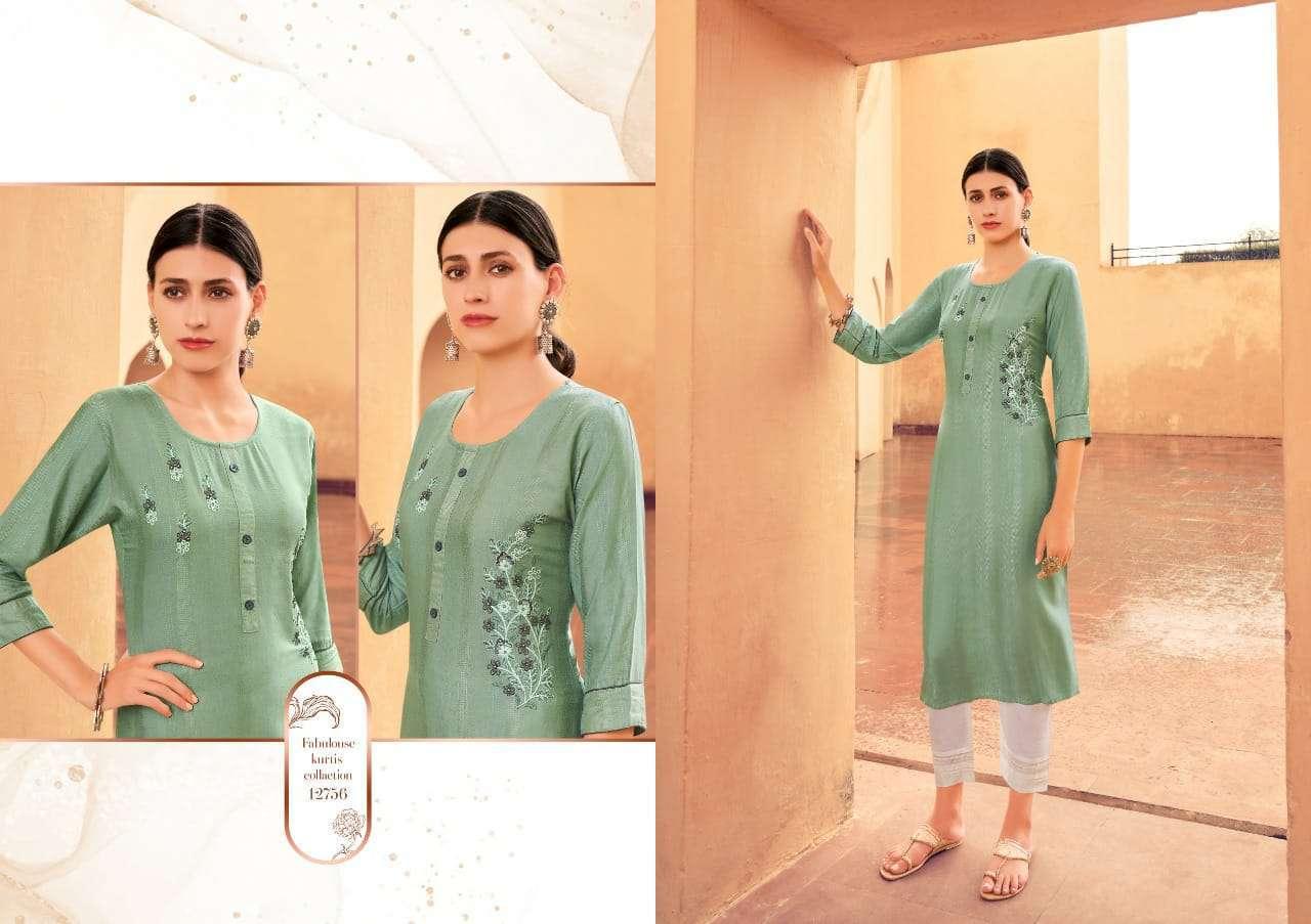 Kessi fabrics kalaroop Kashvi Fancy Weaving With Embroidery Work Kurtis Collection