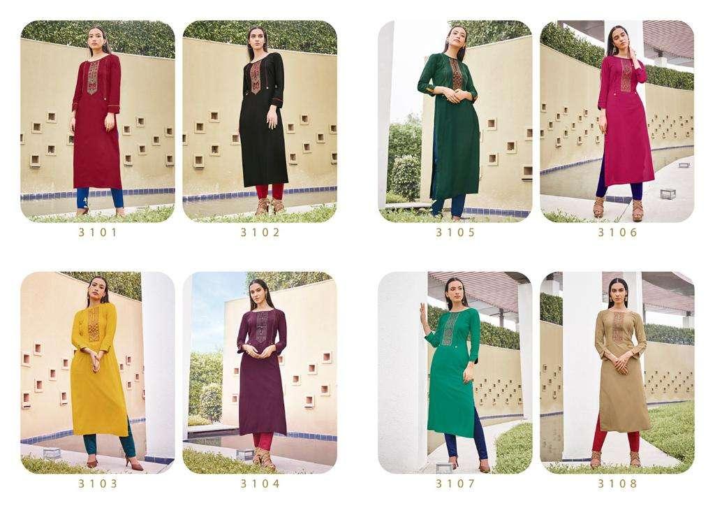 Kessi Fabrics Rangoon park Vol 3 rayon With Embroidery Work Kurtis Collection