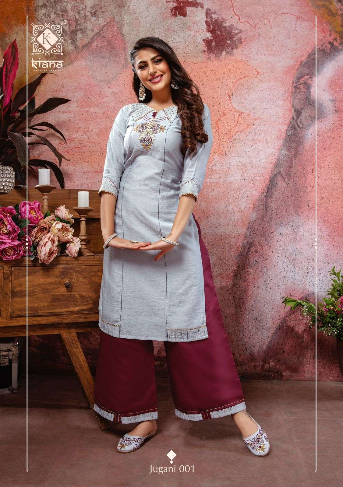 Kiana fashion Jugani Viscose Silk with Gota patti Work Kurti With Bottom And Matching jutti Collection