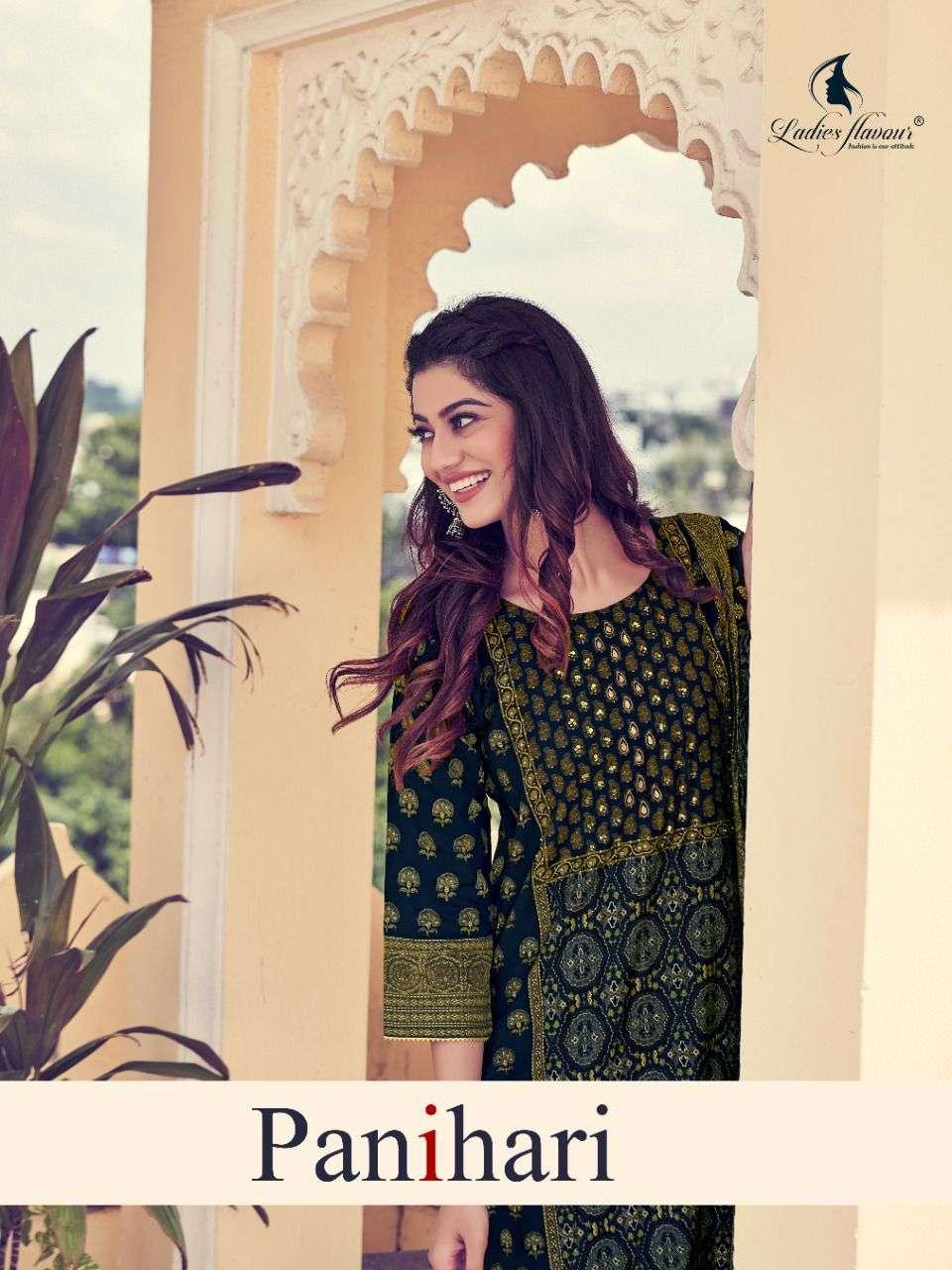 Ladies Flavour Panihari Modal Chanderi Print With Khatli work Kurtis With pant With Dupatta collection