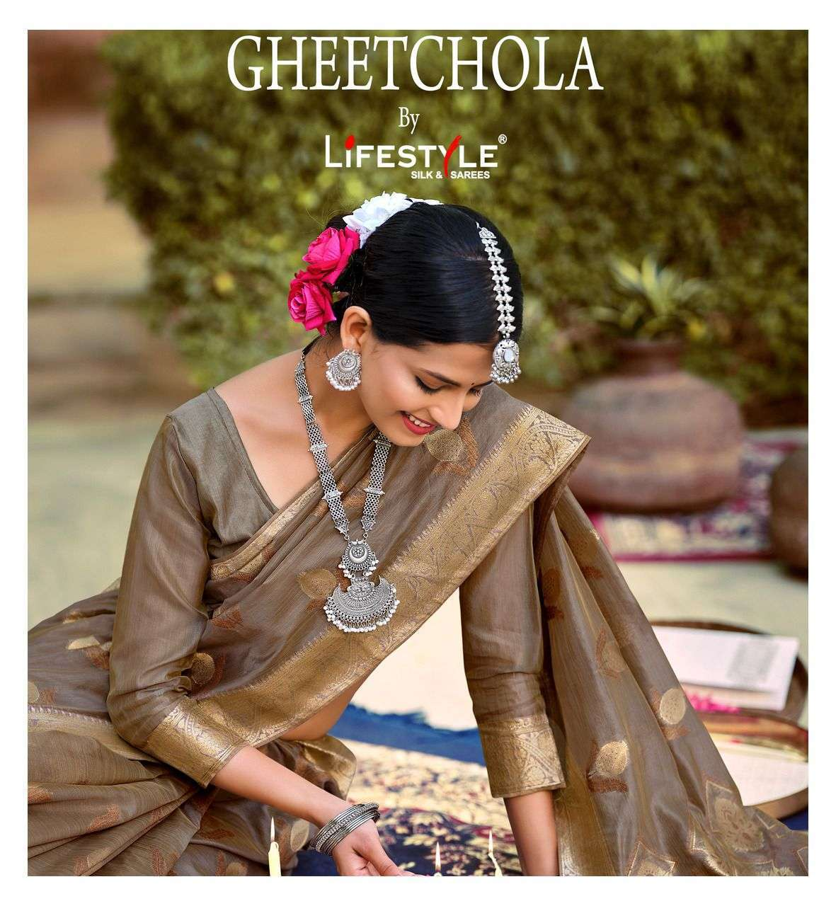 Lifestyle Gheetchola Vol 1 Cotton Organza Sarees Collection