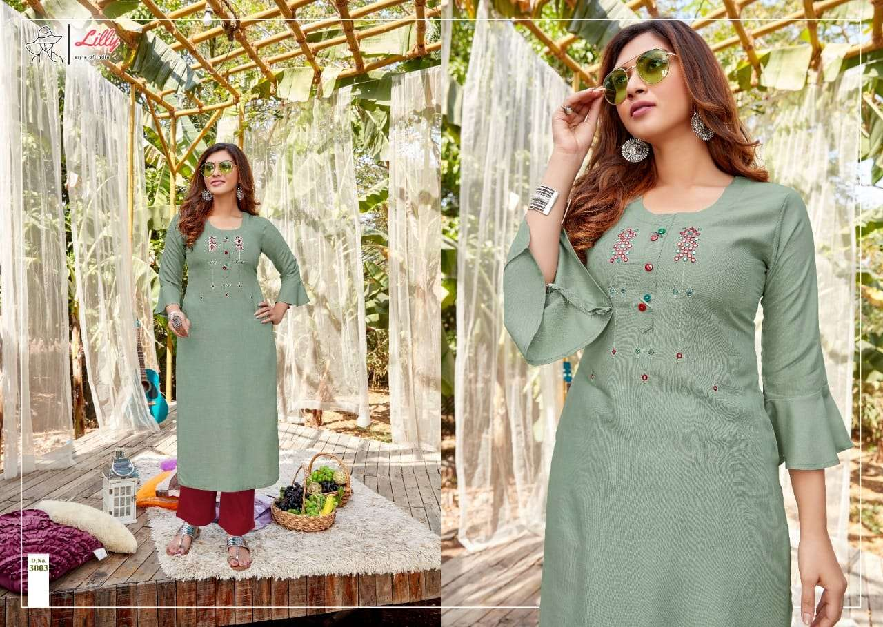 Lilly Style Of India Ovi Rayon With hand Work Kurtis collection