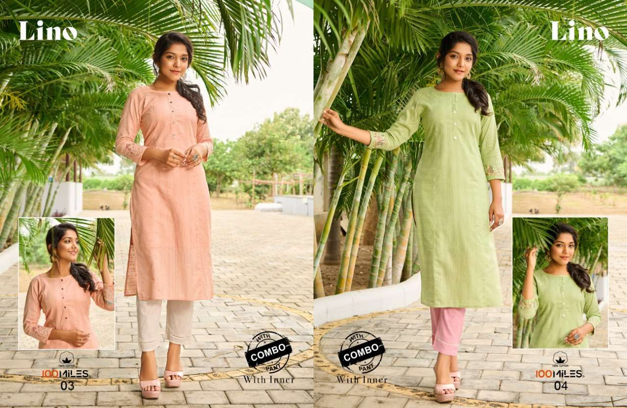 LINO BY 100 MILES COTTON KURTI WITH PANT COMBO SET AT WHOLESALE PRICE