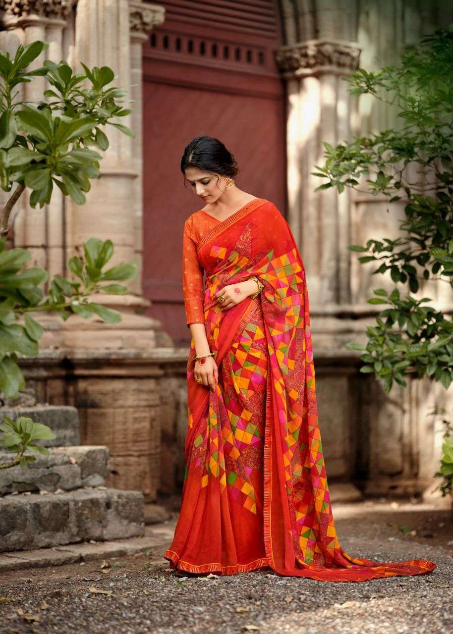 LT Fabrics Kashvi Jasleen Georgette printed With Fancy Lace Border Sarees Collection