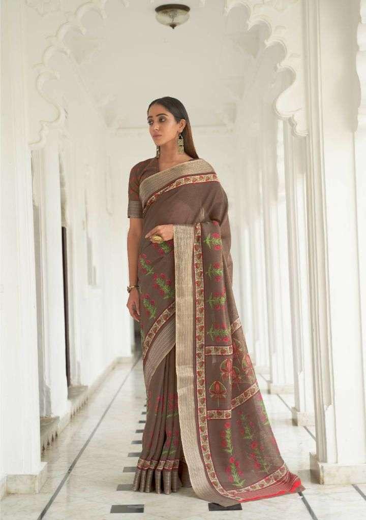 LT Fabrics Kashvi Ransita Linen Sliver Border Sarees collection